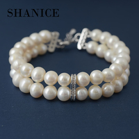 SHANICE Double Layer Simple Brand Design Noble Natural Freshwater Pearl Elastic Bracelet Statement Accessories Jewelry