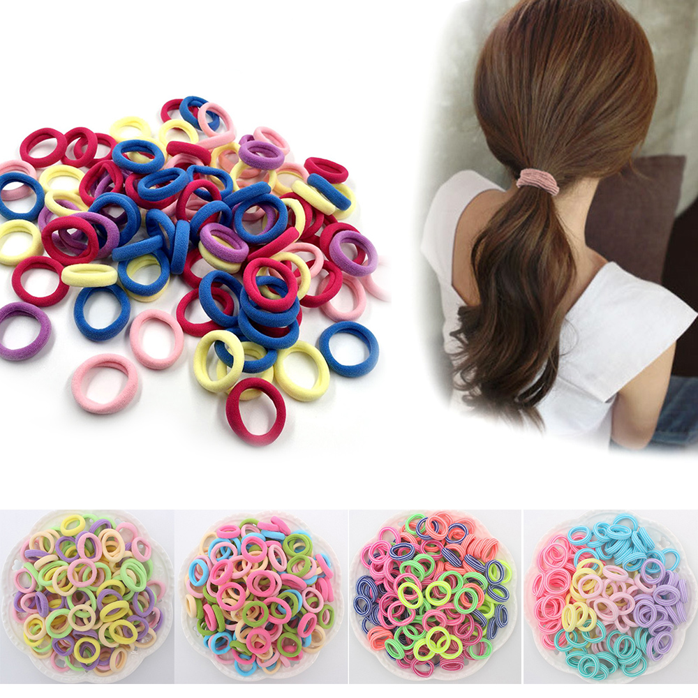 100Pcs Candy Color Cute Kids Girls Elastic Hair Band Rope Ponytail Holder Rubber