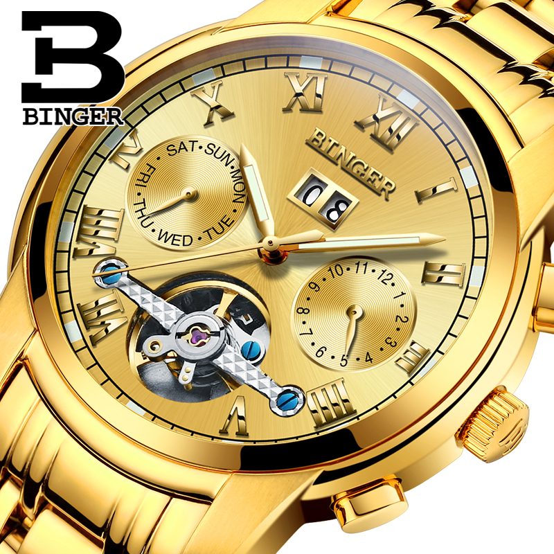 ФОТО Switzerland BINGER watches men luxury brand Tourbillon sapphire luminous multiple functions Mechanical Wristwatches B8601-12