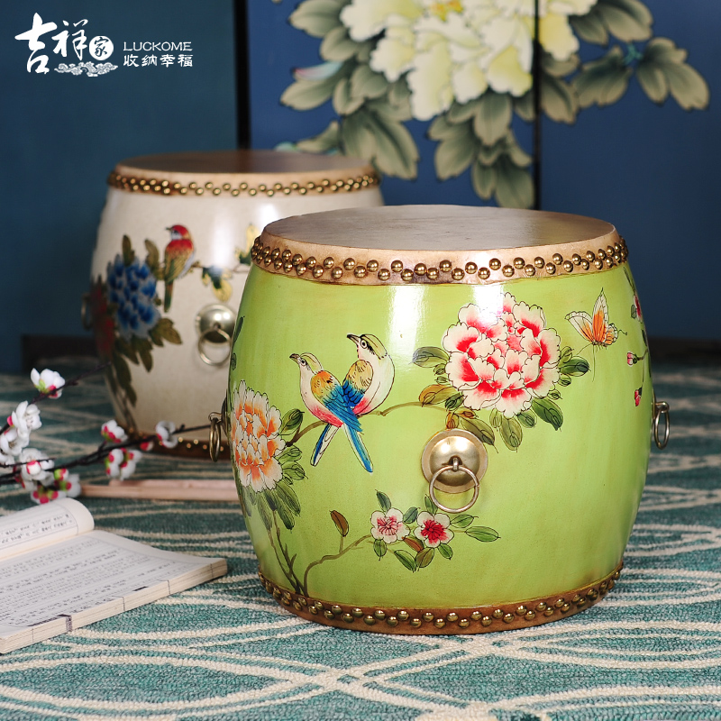 luckome traditional chinese style hand painting drum stool chinese traditional handicraft living room or hotel decoration in stools ottomans from - Traditional Hotel Decoration