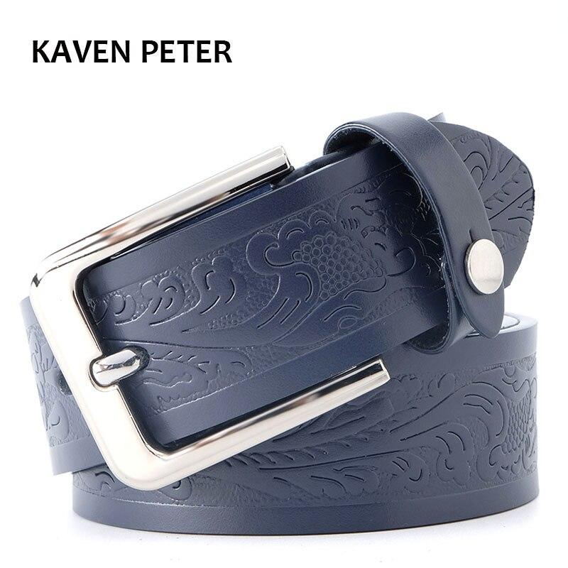 Floral Print   Belt   For Men Genuine Leather   Belts   4.0 cm Strap Width Casual Leather Men   Belts   Black Color Dark Brown Dark Blue