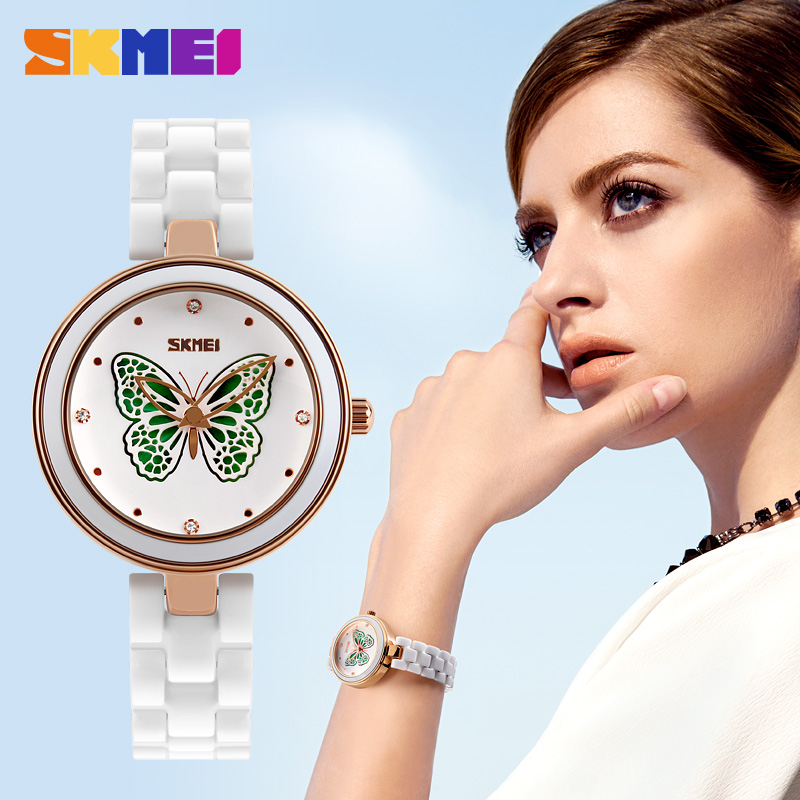 SKMEI Märke Klockor Luxury Ceramic Band Quartz Watch Kvinnor Vattentät Fashion Dress Rhinestone Ladies Armbandsur