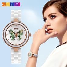 SKMEI Marca Para Mujer Relojes de Lujo Banda De Cerámica Mujeres Del Reloj de Cuarzo Resistente Al Agua Vestido de La Manera Rhinestone Reloj de Las Señoras