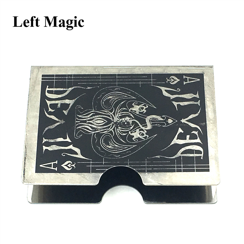 Steel Devil Card Protector Magic Trick Cards Clip Holder Deck Poker Protector Pack Box Case Magic Props Accessory