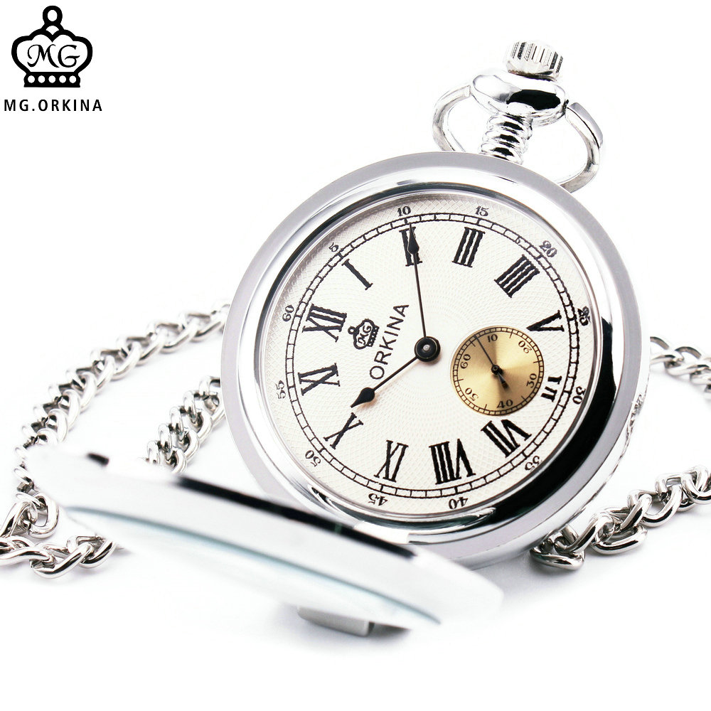 2016 Men Women Quartz Pocket Watch Full Hunter Silver Stainless-steel Case Metro Roman Numeral Dial with Chronograph Sub-dial