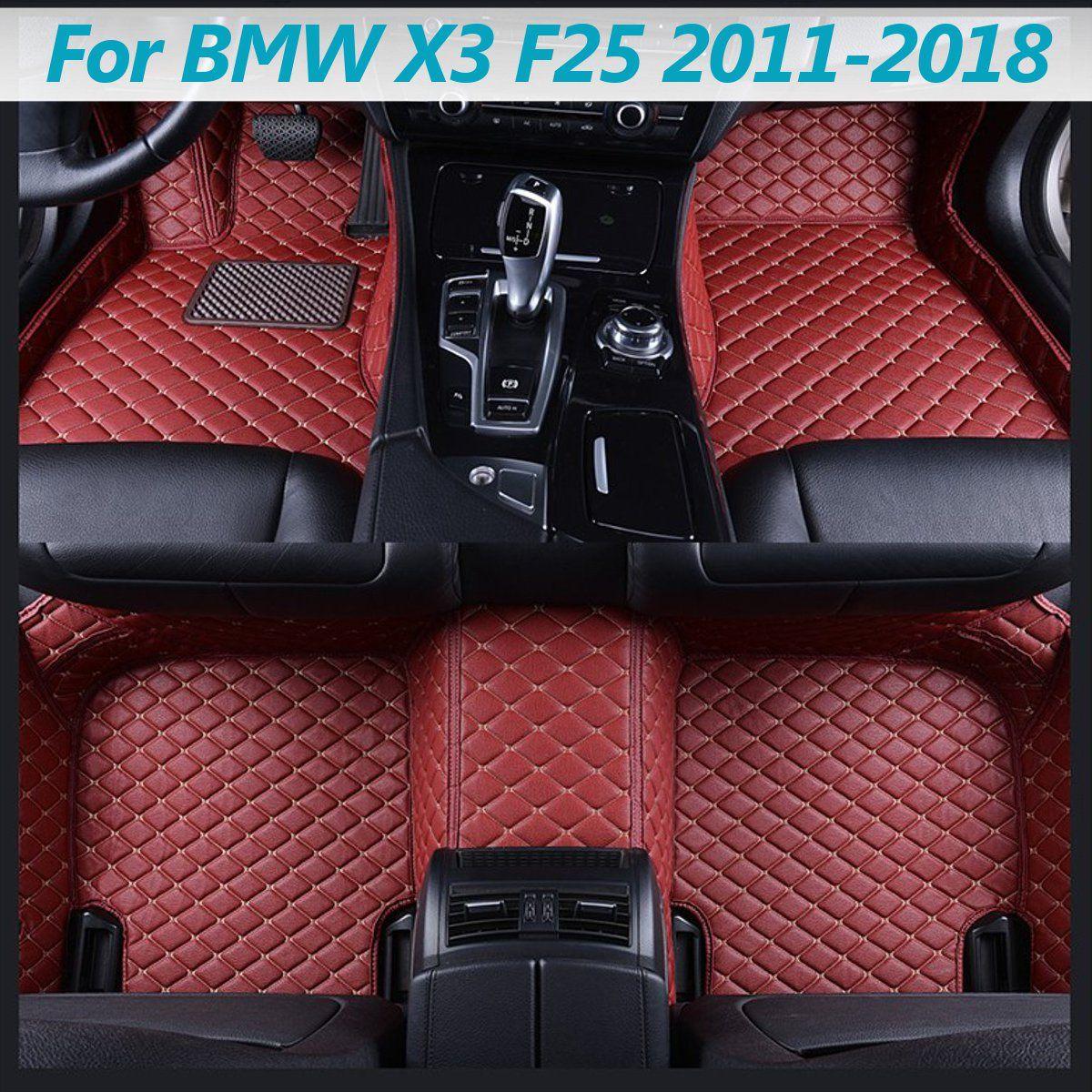5 pièces Flash Mat en cuir voiture tapis de sol universel Auto tapis FloorLiner gauche conduite Premium pied Pad pour BMW X3 F25 2011-2018