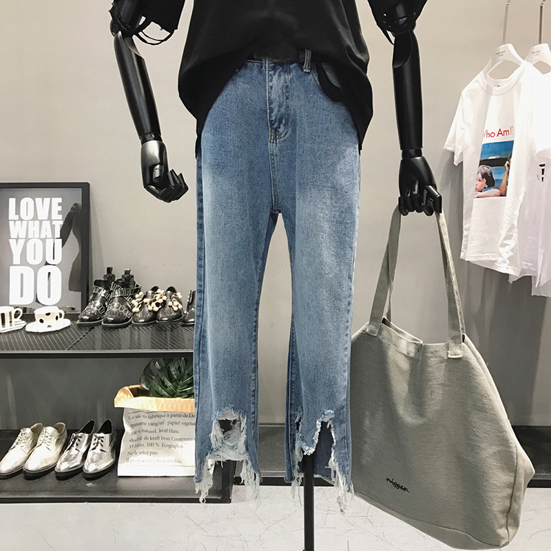 New 2019 Straight Jeans Women Denim Pants Holes Destroyed Pants Casual Trousers Oversized 100kg Stretch Ripped Jeans Plus Size 8