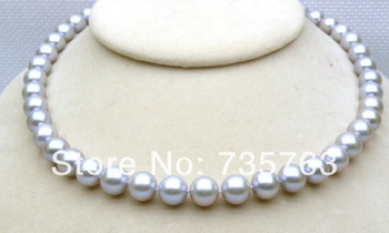 """xiuli 001240 Genuine 8.5-9mm AAA+ round gray south sea pearl necklace sterling clasp 17"""""""