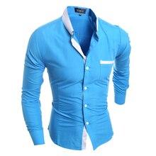 Männer Hemd Luxus Marke 2016 Männlichen Langarmshirts Casual Mens Einfache Feste Einreiher Slim Fit Kleid Shirts Herren X5209