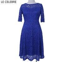 LE CELEBRE Nửa Tay Áo Ren Bút Chì Dresses Women 2017 Royal Blue Red Xám Slash Cổ Đảng Dress Knee-length Lady Dress