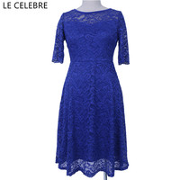 LE CELEBRE Half Sleeves Lace Pencil Dresses Women 2018 Royal Blue Red Grey Slash Neck Party