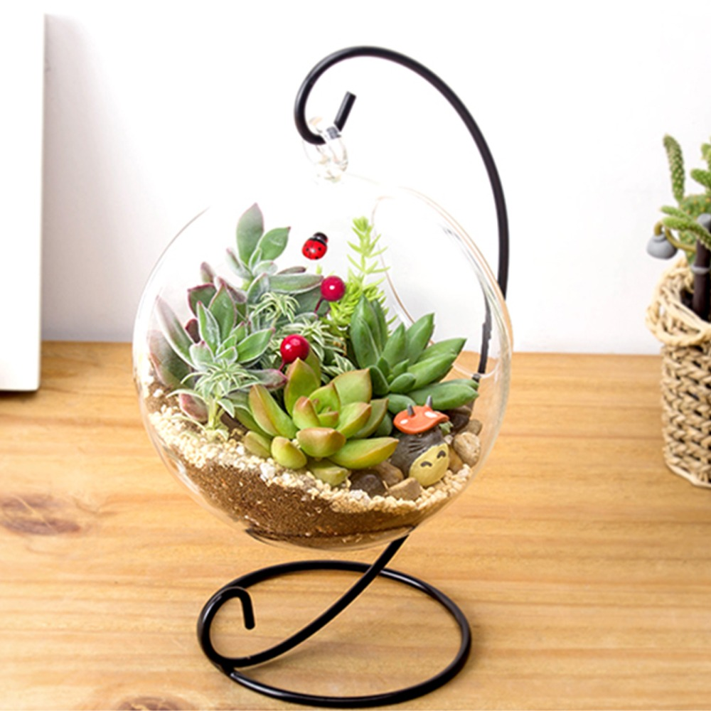 Glass Vase Decoration Home Crystal Balls Garden Household Decor DIY Clear Round Hydroponic Plant Flower Hanging Container Decor