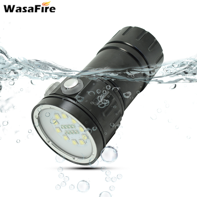 Professional Underwater LED Diving Flashlight 10*XML L2 White 4*Red 4*Blue Light Dive Photography Video Lamp Scuba Flashlights sitemap 4 xml
