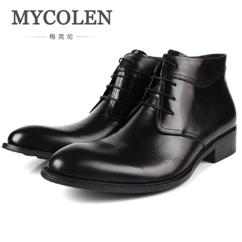 цены MYCOLEN Genuine Leather Men Boots Handmade Men Winter Shoes High Quality Ankle Boots Autumn And Winter Height Increase Shoes