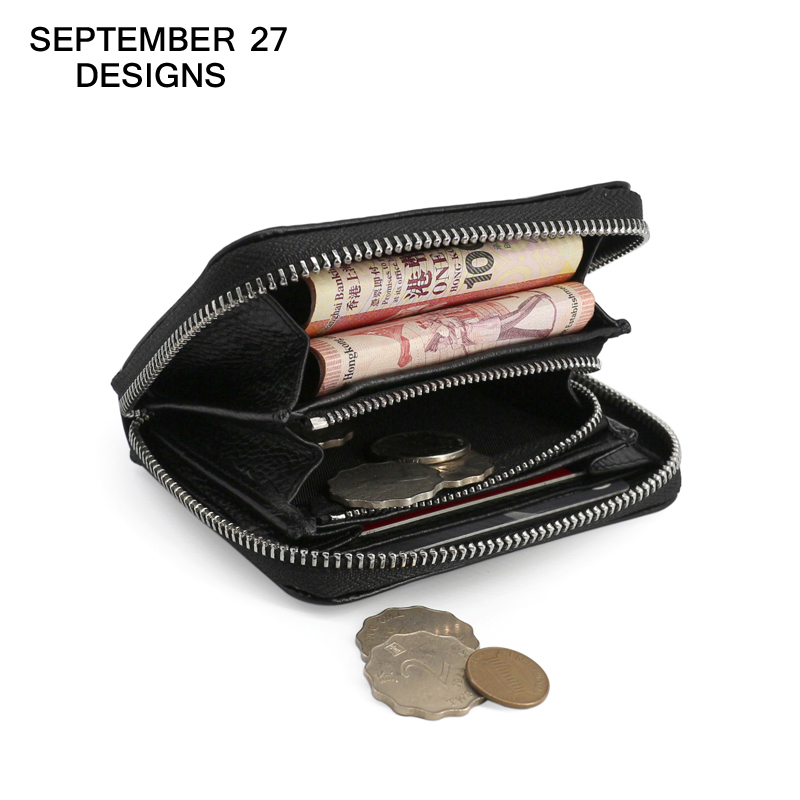 Women Coin Pouch Zipper purses genuine leather male clutch Multifunctional purse men s wallet Card Holder