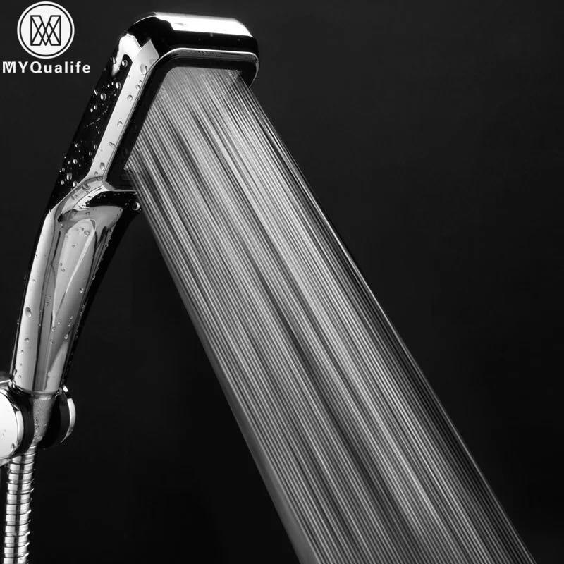 Water Saving Pressure Boost shower head Handheld 300 Holes chrome hand hold Bathroom Shower Head