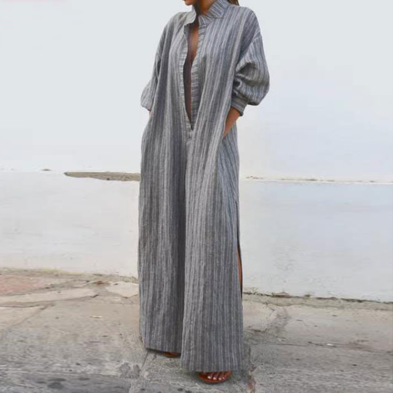 2018 Women Vintage Cotton Line Loose Long Shirt Dress Plus Size Autumn Dresses Lady Retro Long Sleeve Stand Collar Sexy Vestidos