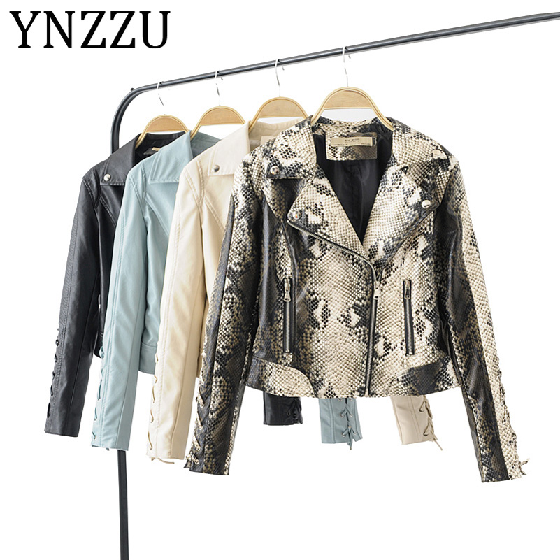 YNZZU 2019 New Autumn Winter Women Biker   Leather   Jacket Lace up Sleeve Soft PU Casual Female Faux   Leather   Jacket 4 Colors A1010
