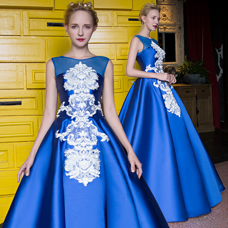 2016 Glamorous Blue Sleeveless Floor Length Party Dress White Appliques Embroidery Ball Gown Party Costumes
