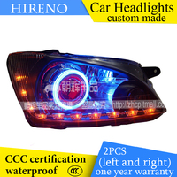 Hireno Custom Modified Headlamp For Chevrolet Sail 2007 Headlight Assembly Car Styling Angel Lens Beam HID
