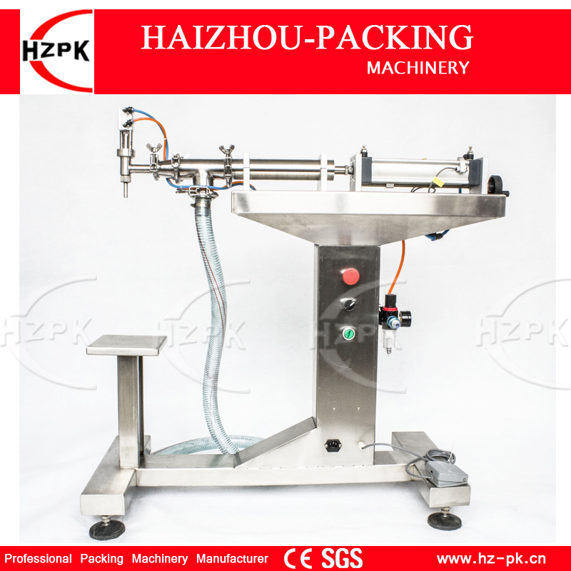 HZPK Vertical Single Head Liquid Filling Machine Electric&Pneumatic For Food Processor Filler Small Packer 200-1500ml G1LYD1500 zonesun pneumatic a02 new manual filling machine 5 50ml for cream shampoo cosmetic liquid filler
