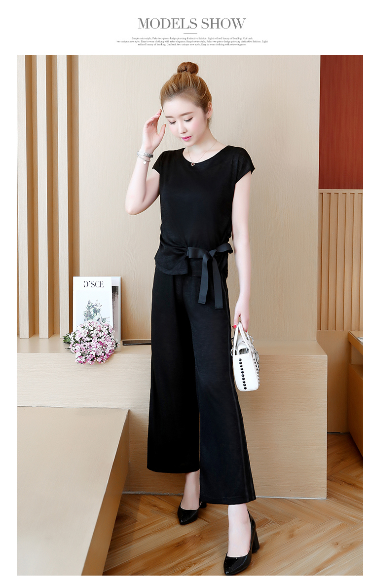 Plus Size Summer 2 Piece Sets Women Short Sleeve Bow Tops And Wide Leg Pants Sets Suits Casual Fashion Women's Two Piece Sets 37