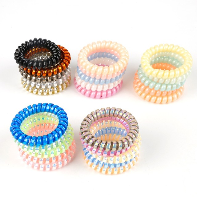 10Pcs Hair Accessories 5cm Gum Telephone Wire Hairbands Headwear Elastic  Spring Hair Bands Hair Ties Rings Ropes Ponytail Holder 4af8a69eb70