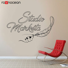 Studio Marketa Quote Hand Feather Wall Decals Vinyl Art Home Decor Office Sticker Removable Self Adhesive Mural Wallpaper 3R39 vodool creative wall blackboard sticker vinyl removable self adhesive children early education decor stationery office supplies