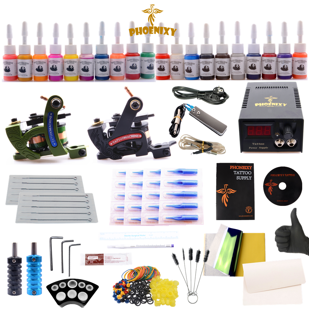 купить Tattoo Kit 2 Electrical Gun 20 Colors Black Tattoo Ink Set Power Supply Permanent Make-up Supplies Needles Grips Tattoo Kits онлайн