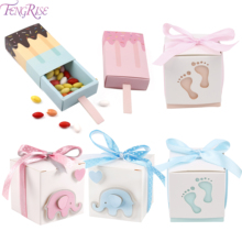 FENGRISE Ice Cream Gift Box Paper Candy Bags For Gifts Baby Shower Shape Birthday Wedding Favor
