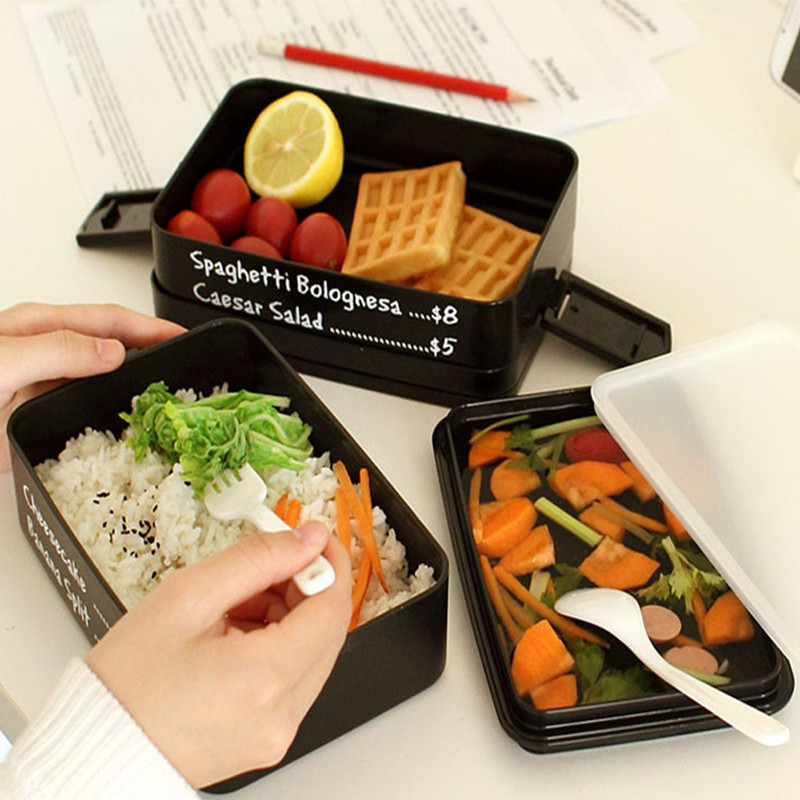 plastic food containers 3 layers japanese style bento lunch box microwave dinnerware set lunch. Black Bedroom Furniture Sets. Home Design Ideas