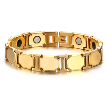 Gold Color Stainless Steel Charm Bracelets & Bangles Magnetic Bio Healthy For Men