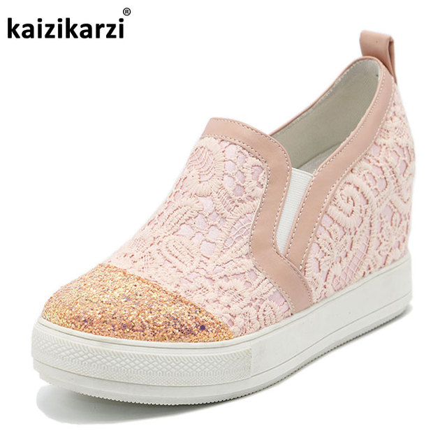 Flatform Sneakers Lacez Patchwork Round Toe 5fHmZo6tPR