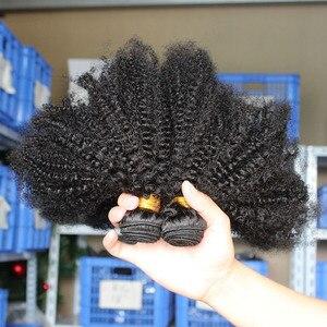 Image 3 - Монгольские афро кудрявые пряди волос 100% человеческие волосы пряди с закрытием 4B 4C наращивание ткать девственные волосы 2 или 3