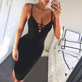GZDL Women Hollow Out Summer Bodycon Party Dress Sexy Deep V Neck Spaghetti Strap Sleeveless Night Club Bandage Vestidos CL2420