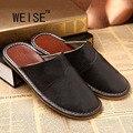 Genuine Leather Shoes Men Summer Slippers Home High Quality Full Grain Leather Slippers Women Size 5-13 Slip Home Floor Shoe