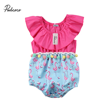 2018 Brand New Infant Toddler Newborn Flamingo Baby Girls Romper Jumpsuit Jumper Kids One Piece Outfit Ruffled Summer Clothes