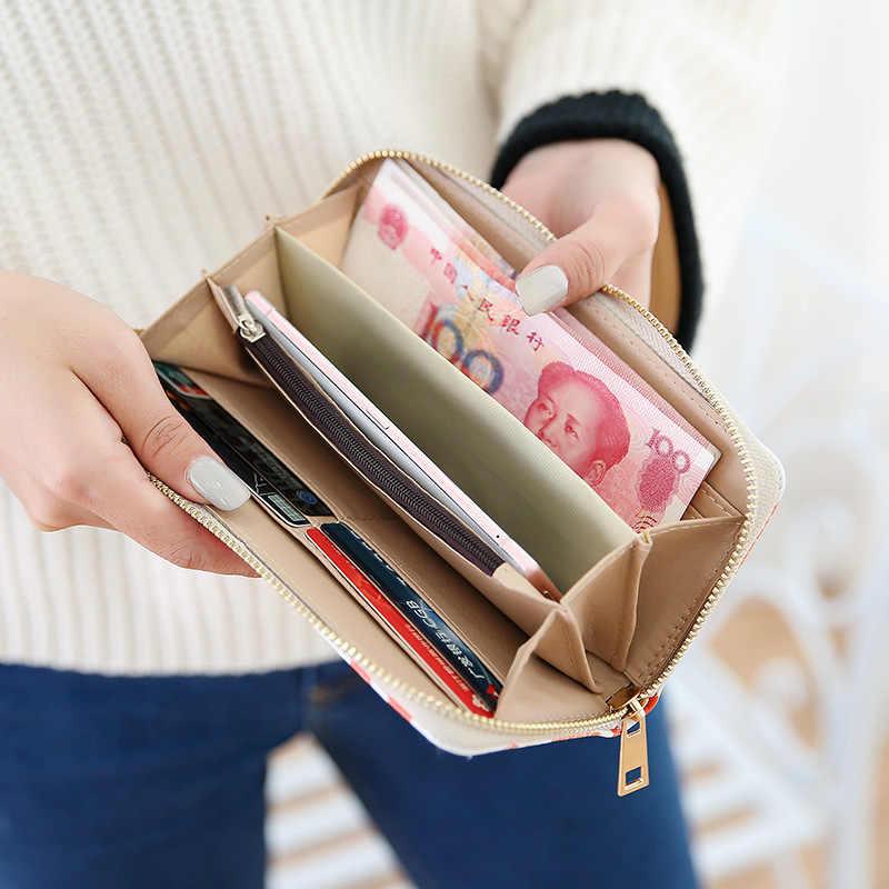 PHAMOZ Роскошные Аниме Длинный телефон кожа женщина тонкий кожаный клатч обувь для девочек Женский кошелек, женские кошельки, Монета Сумка