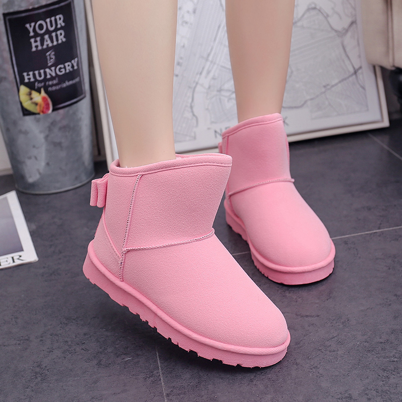 2017 Winter Boots Women Fashion Wear Bow tie Snow Boots Girl Thick Fur Warm Boots Fabric Brand Winter Cotton Shoes Botas Mujer