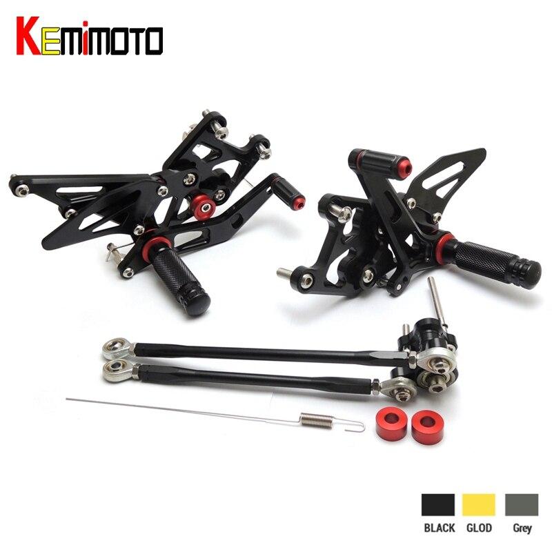 KEMiMOTO New Rear Sets 2007 2012 CBR 600 RR CNC Adjustable Rearset Foot Pegs For Honda