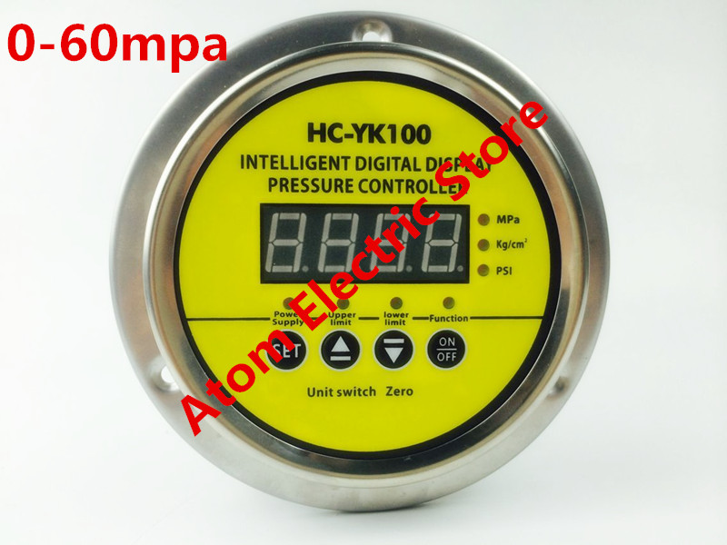 0-60 mpa  AC220V  Digital display electric contact pressure gauge digital controller  ynxc 60 2 5 shock proof magnetic help 60mm oil liquid filled electric contact pressure gauge manometer lower mount bottom