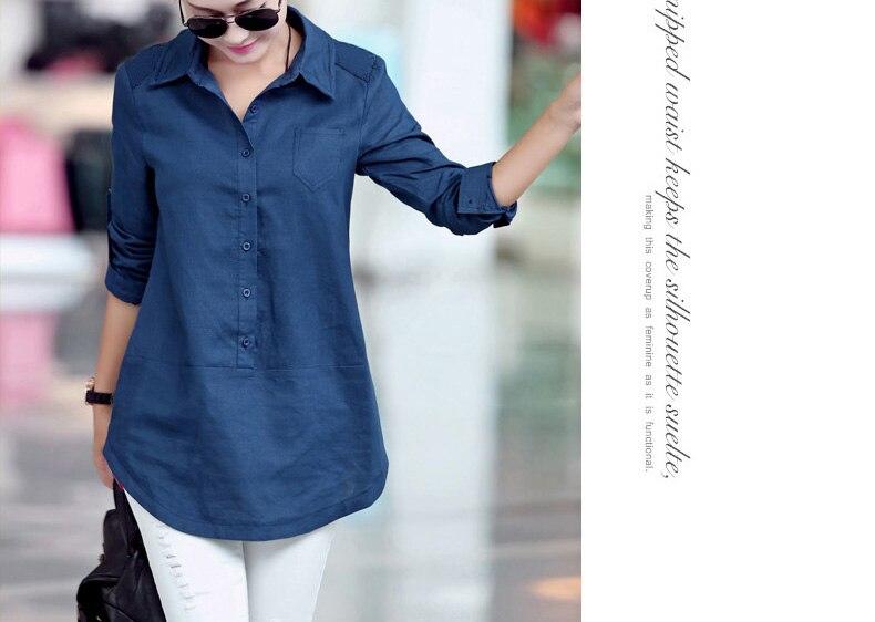 Camisa femenina 2017 de las mujeres de algodón de lino camisas y tops Blusa Gran
