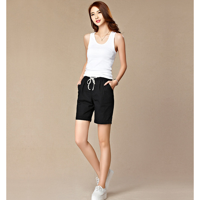 New Summer Style Loose Linen Shorts Casual Women Fashion Elastic Waist Bow Lace up Black Shorts Feminino Pantalon Femmes 7DK0205