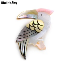 Wuli&Baby Natural Shell Bird Brooches Alloy Woodpecker Animal Banquet Weddings Brooch Christmas Gifts