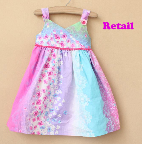 NEW arrival! free shipping high quality wholesale and retail girl's multicolor flowers strap dress with bow, children's gift