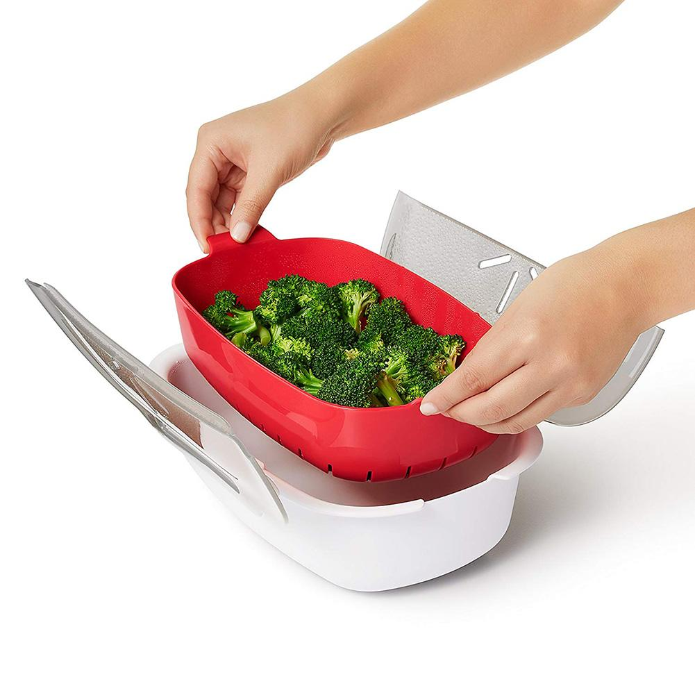 Microwave Steamer Basket Safe Non-toxic Fish Food Microwave Oven Steamer Steaming Dish Kitchen Heating Supplies 28.5*21.8*8cm
