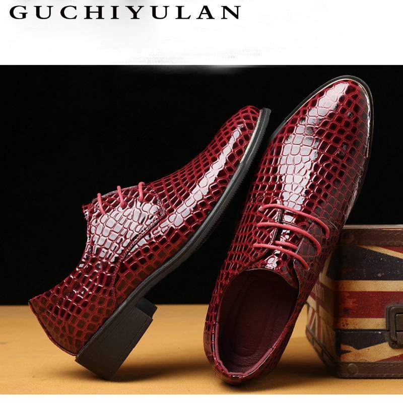 GUCHIYULAN Brand Big Size 38-48 Men Wedding Party Dress Shoes Black Oxfords FashionCrocodile pattern Business Lace-up Men's Flat