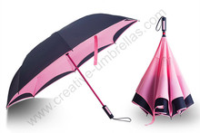 107cm 2-3persons auto open self-defense Windproof Reverse hands-free umbrella Double Layer inverted Inverted standing parasol