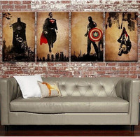 4 Panel Pictures Hand Painted Oil Painting On Canvas Retro Movie Star Batman Hulk Captain America
