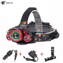 15000lm 5 LED Head lamp High Power Zoom Headlamp XM-L T6 +4R5 LED Zoomable torch lamp light 4Mode + 18650 rechargeable battery